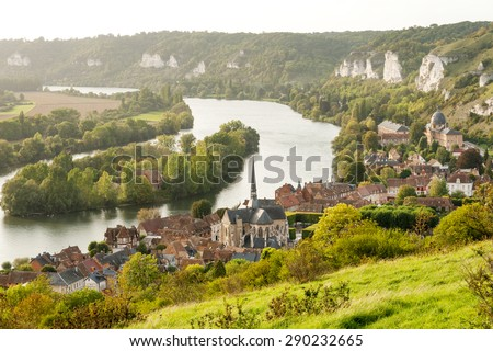 Les Andelys commune on the banks of Seine, Upper Normandy - stock photo