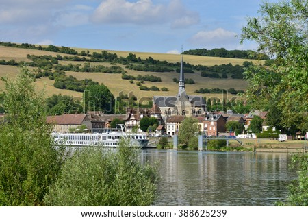 Les Andelys, France - august 10 2015 : tourism boat on the seine river