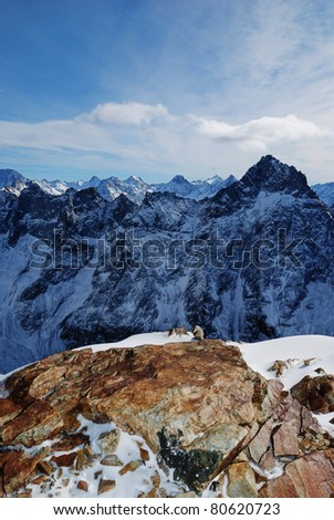 Les Deux Alpes - View from the glacier - stock photo
