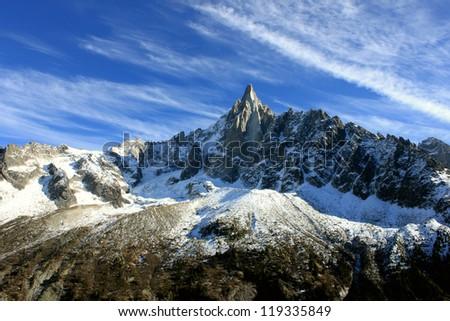 Les Drus Chamonix-Mont-Blanc France - stock photo