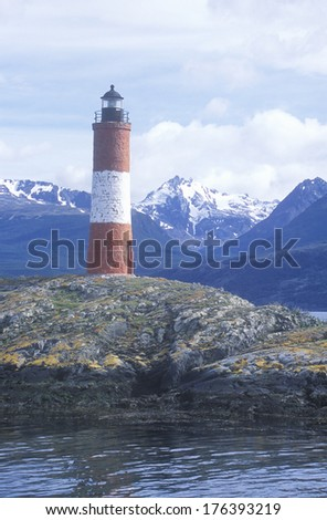 Les Euclaires Historic Lighthouse at Bridges Islands and Beagle Channel, Ushuaia, Argentina - stock photo