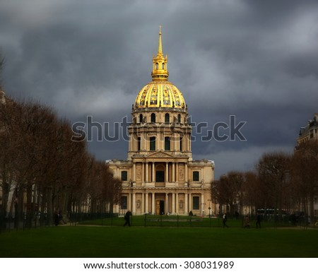 Les Invalides building before a storm - stock photo