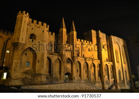 Les Palais des Papes (The Palace of the Popes) in Avignon, France - stock photo