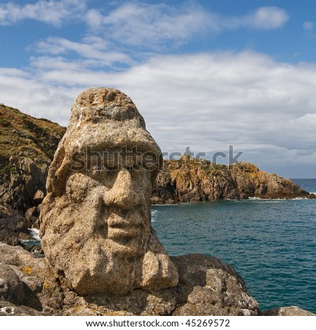 Les Rochers Sculptes (Sculptures) in Rotheneuf, Saint-Malo, Brittany, France. - stock photo