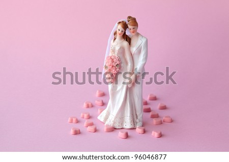Lesbian couple who are getting married - stock photo