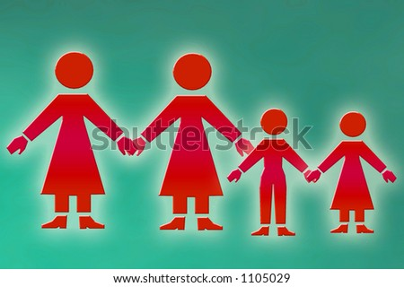 lesbian family graphical illustration - stock photo