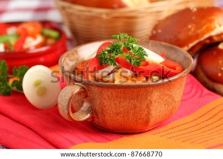 Lesco - originally Hungarian thick vegetable stew with peppers, onion and tomato