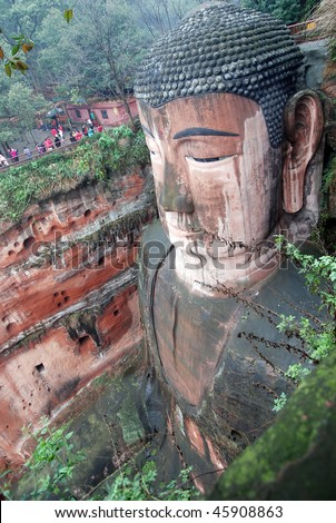 Leshan Giant Buddha in Mt.Emei of china - stock photo
