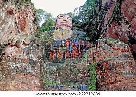 Leshan Giant Buddha is the largest stone Buddha in the world, 71 metres (233 feet) tall; Unesko World Heritage Site. - stock photo