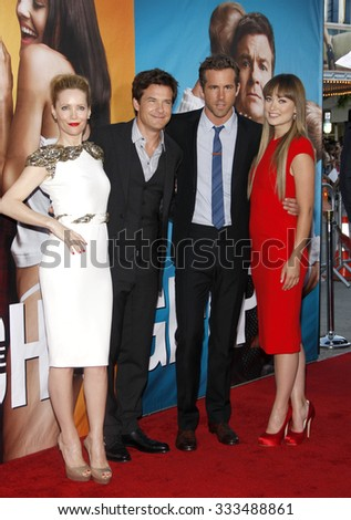 """Leslie Mann, Jason Bateman, Ryan Reynolds and Olivia Wilde at the Los Angeles Premiere of """"The Change-Up"""" held at the Westwood Village Theater in Los Angeles, California, USA on August 1, 2011.   - stock photo"""