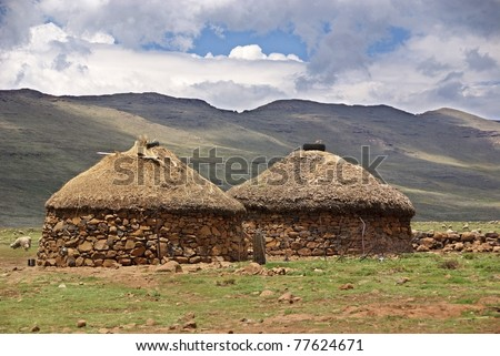 Lesotho, officially the Kingdom of Lesotho, is a landlocked country and enclave, surrounded by the Republic of South Africa - stock photo