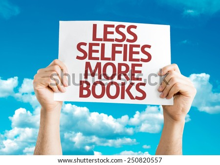 Less selfie more books card sky stock photo 250820557 for Less is more boek
