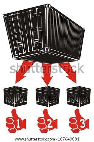 Less than container load (LCL) shipment in six illustrations (part 6) - Part shipments are delivered to consignees from the shipping container - stock photo
