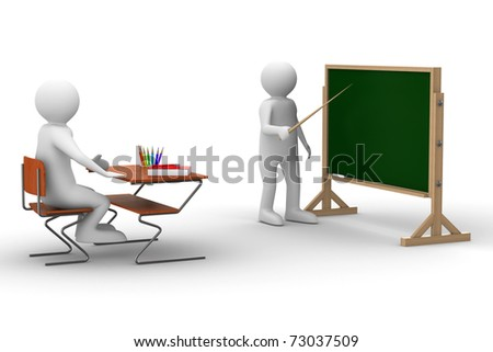 Lesson at school. Isolated 3D image on white - stock photo