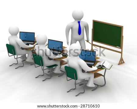Lesson in a school class. Isolated 3D image. - stock photo