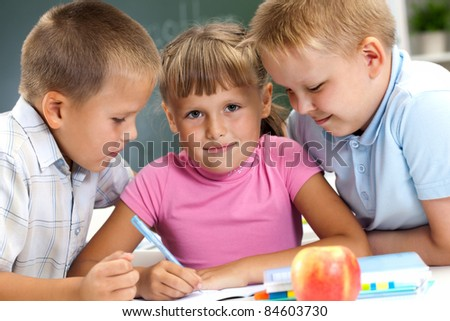 lesson with the teacher at school - stock photo