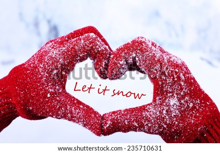 Let it snow, greeting card - stock photo