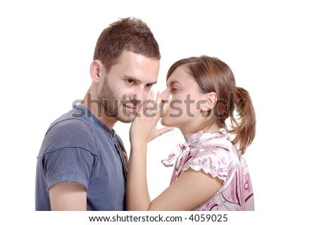 Let me tell you a secret-Girlfriend talking to a boyfriend against white background