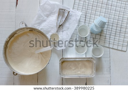 Let's bake a cake. cooking class image. - stock photo