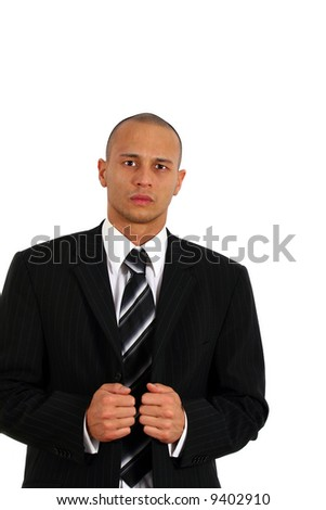 Let's Do It Young man in stylish business fashion - over white background. - stock photo