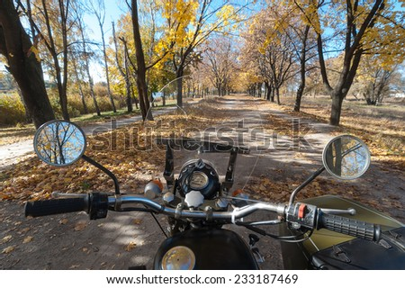 Let's go ride a retro motorcycle. - stock photo