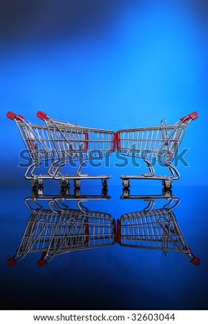 Let's go shopping carts vertical. - stock photo