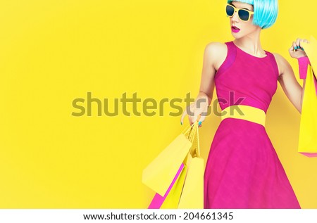 Let's go shopping.  Glamorous fashion lady - stock photo