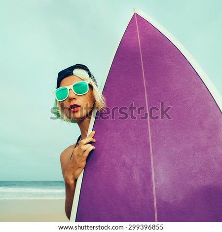 Let's go Surf. Girl with Surf board on the Beach - stock photo