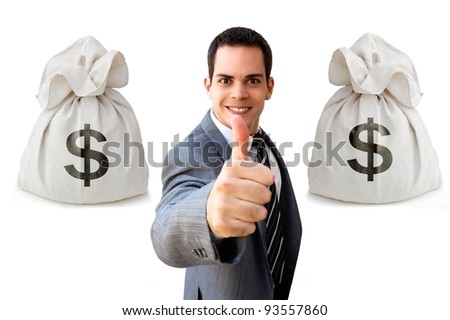 Let's make money! Businessman showing thumbs up isolated on white background with two money bags.