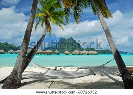let's relax at bora bora - stock photo