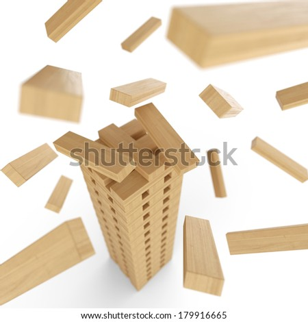lets build a wood bricks tower 3 - stock photo