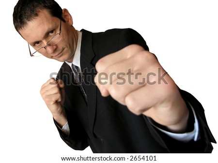 Lets fight!Tough business.Focused  on the man,the right fist is out of focus.(isolated) - stock photo