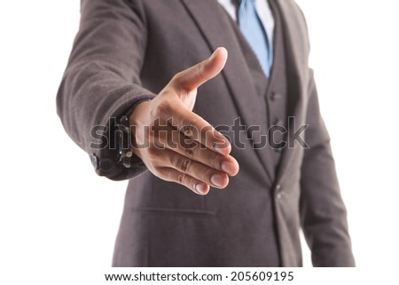 Lets shake hands! Close-up of businessman stretching out hand for shaking. - stock photo