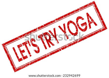 lets try yoga red square stamp isolated on white background