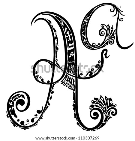 Letter A a in the style of abstract floral pattern on a white background - stock photo