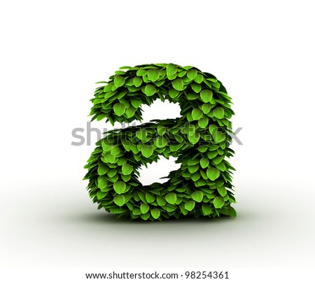 Letter  a, alphabet of green leaves, small caps - stock photo