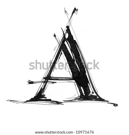 letter A. Alphabet symbol - grunge hand draw paint - stock photo