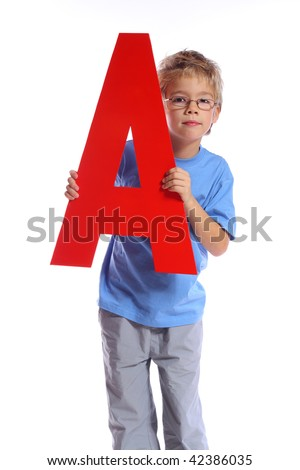 """Letter """"A"""" boy - See all letters in my Portfolio - stock photo"""