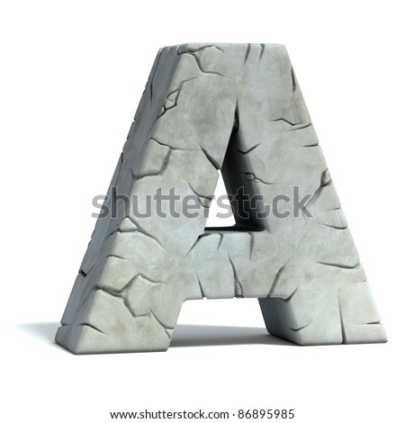 letter A cracked stone 3d font