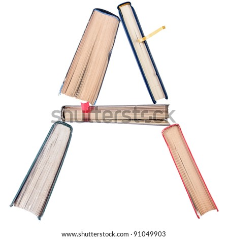 Letter A from book spines alphabet set - stock photo