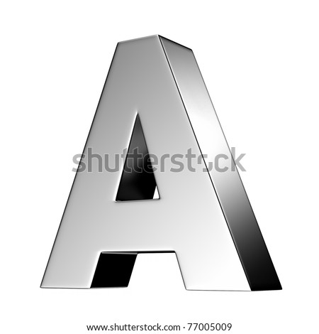Letter A from chrome solid alphabet. There is a clipping path - stock photo