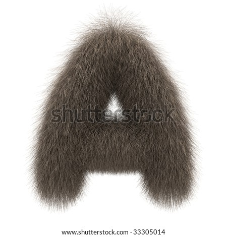 Letter A from fur alphabet - stock photo