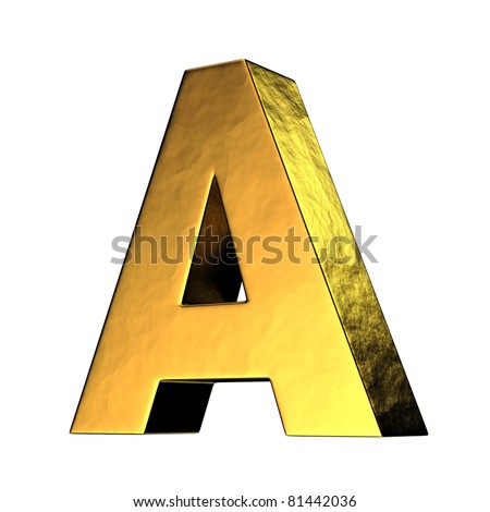 Letter A from gold solid alphabet. There is a clipping path - stock photo