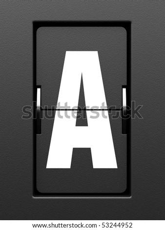 Letter A from mechanical scoreboard alphabet - stock photo