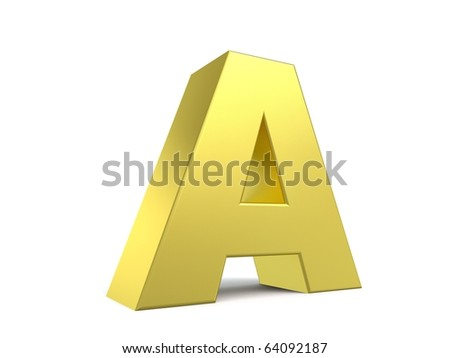 letter A from my golden collection - stock photo