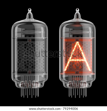 Letter A from retro-styled digitron alphabet isolated on black. There is a clipping path - stock photo