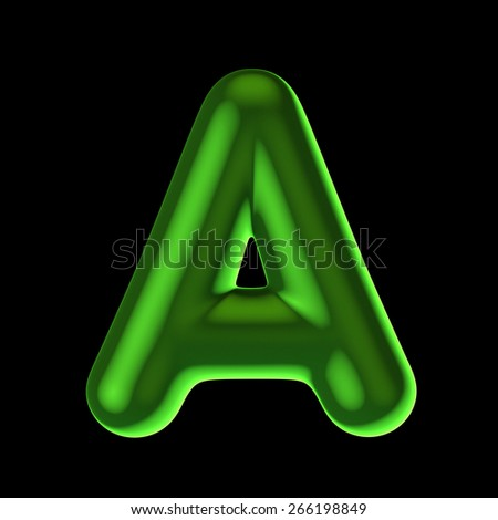 Letter A from round green back light alphabet. There is a clipping path - stock photo
