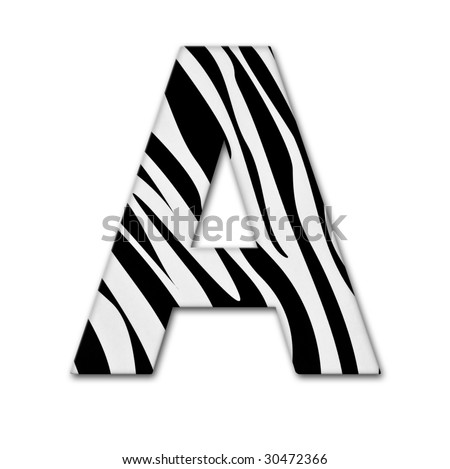 Letter A from the alphabet. Made of animal print. It has a clipping path - stock photo