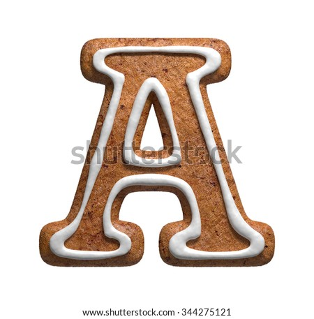 Letter A. Gingerbread font. Christmas cookies alphabet. - stock photo