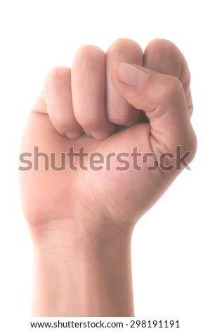 Letter 'A' in sign language, hand on a white background - stock photo